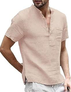 Men Linen Henley Shirts Casual Standard Fit Short Sleeve Basic Summer Beach Henley Shirts Yoga...