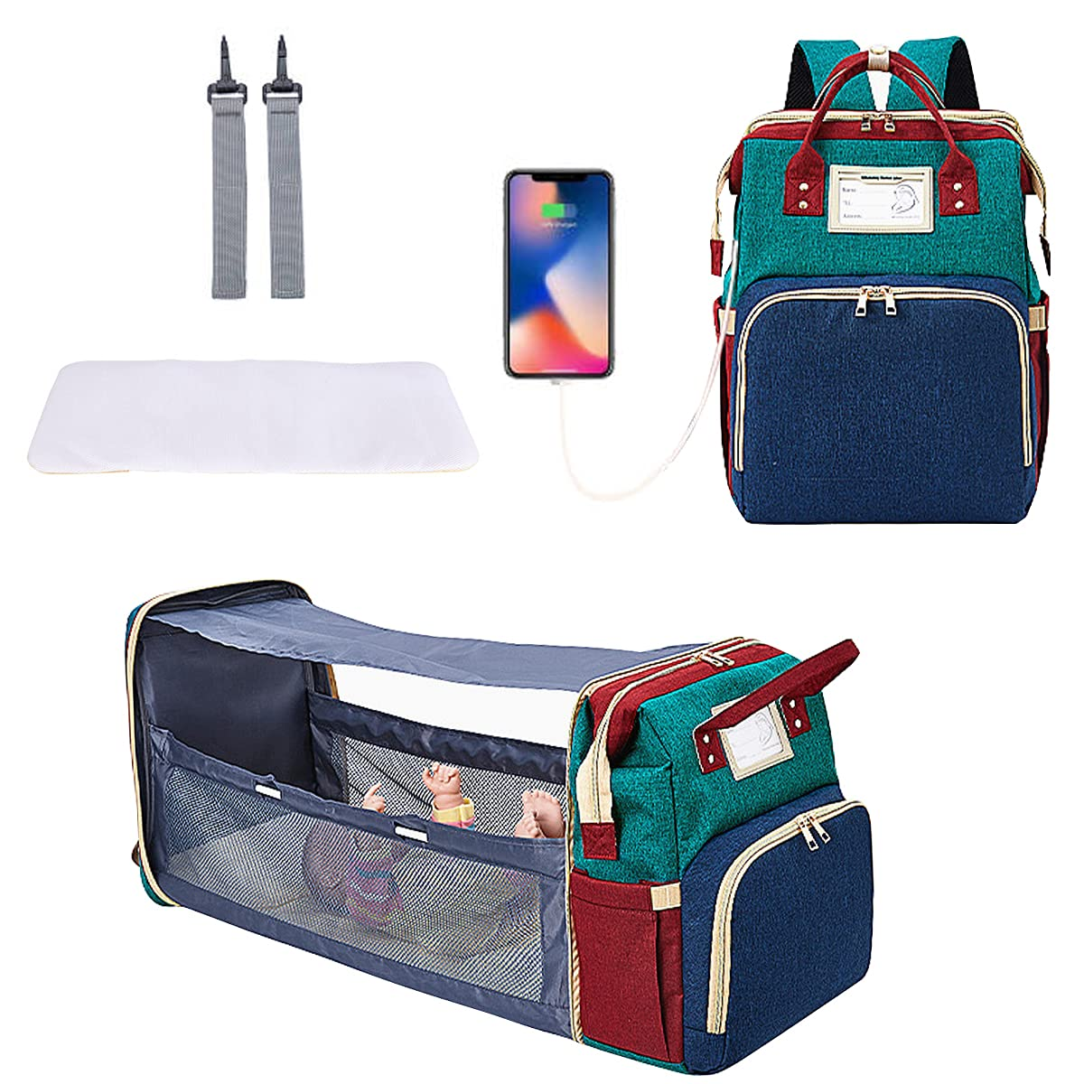 Diaper Bag with Changing Station,ProttyLife 3 in 1 Diaper Bag Backpack with Foldable Bed, Baby Bag Backpack, Portable Sleeping Mummy Bag with Bassinet Mat Pad Stroller Hook USB Charge (Multicolored)