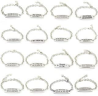 YOYONY 10 PCS Packs ! Random Inspirational Message Adjustable Leather Bracelets,Motivational Quotes Bangle Bracelets,Minimalist Decoration BFF Jewelry
