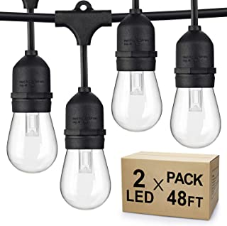 SHINE HAI 2-Pack Dimmable LED Outdoor String Lights for Patio, 48Ft IP65 Waterproof Hanging Edison Bulbs, Commercial Lights String Create Ambiance for Garden Backyard Party (Total 96ft)