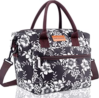 BALORAY Leakproof Lunch Bag for Women Adjustable Shoulder Strap Leakproof Cooler Lunch Tote Bag for Work/Picnic (Black with Flower)