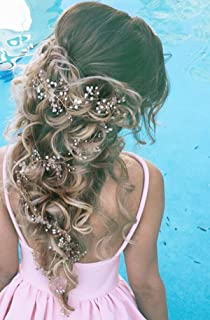 Yean Bridal Wedding Hair Accessories Rhinestone Updo Headband Headpieces for Bride and Flower Girl (Silver)
