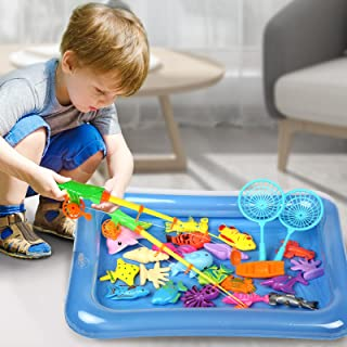 Magnetic Fishing Game 30 PC Ocean Sea Floating Fish Colorful Animals with Net Portable Storage Bag Bathtub Game for Age 3 ...