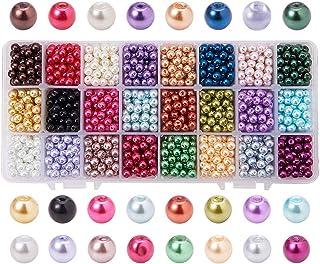 PandaHall Elite 1440 Pcs Cuentas Redondas de Cristal, de Estilo Perla, 24 Colores 6 mm de Diámetro, Agujero: 1 mm