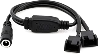 CRJ Electronics DC Power Supply Plug to 2 x 3/4-Pin PC Fan Power Adapter Y Splitter Cable