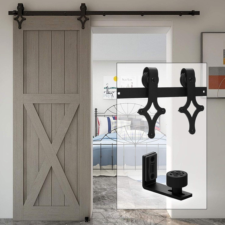WOLFBIRD Kit de herramientas para puerta de granja 183 cm – 6FT Kit de riel para sistema puerta corredera con guía de suelo ajustable para puerta de madera
