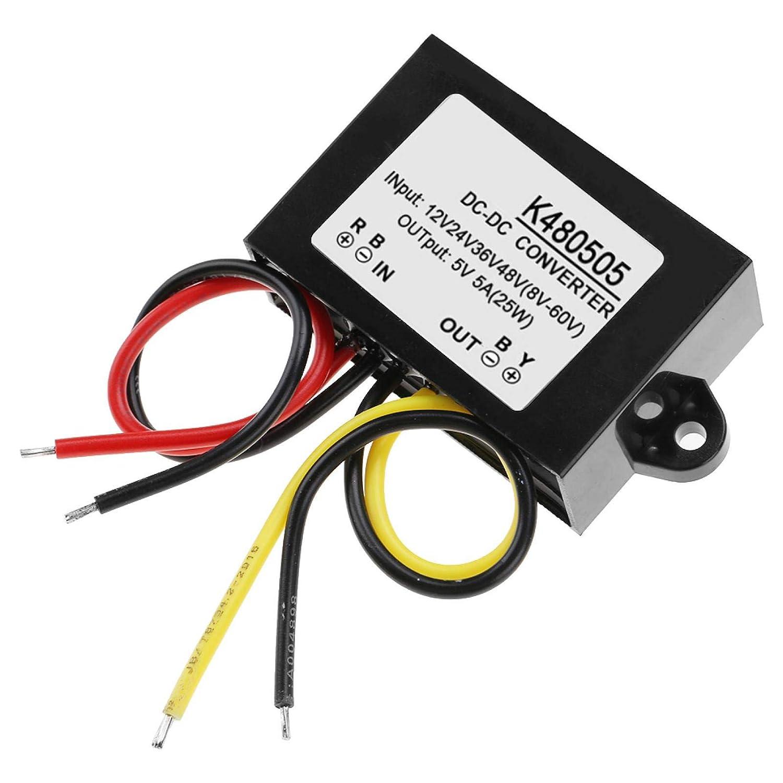 Módulo de fuente de alimentación reductora 5A Módulo convertidor DC-DC Buck 12V / 24V / 36V / 48V a 5V 25W Alta eficiencia no aislado para dispositivos eléctricos de 5V Industrial