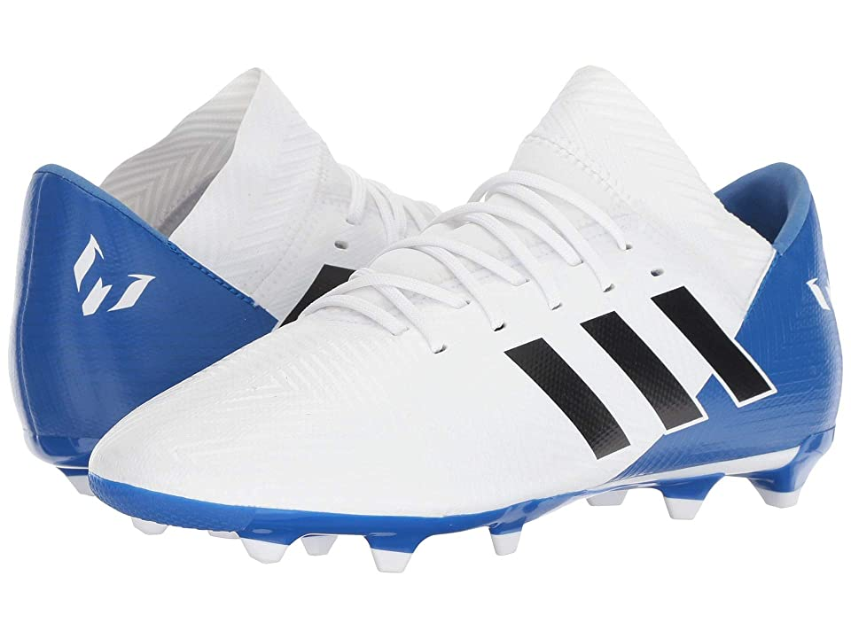 adidas Kids Nemeziz Messi 18.3 FG Soccer (Little Kid/Big Kid) (White/Black/Blue) Kids Shoes