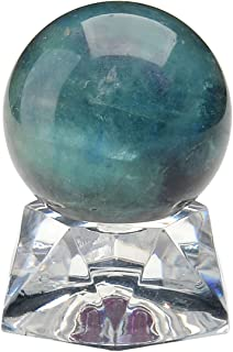 QGEM Reiki Natural Fluorite Crystal Energy Sphere 30mm on Acrylic Stand w/Box
