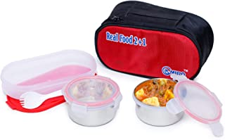 Omiro Executive Lunch Box Real Food 2+1 for Office, Stainless Steel, 3 Container Set, Red & Blue