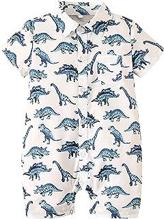 Sponsored Ad - KMBANGI Infant Baby Boy Dinosaur Jumpsuit Short Sleeve Button-Down Shirt One Piece Romper Jumpsuit Summer O...