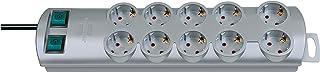 Brennenstuhl Primera-Line, Steckdosenleiste 10-fach Steckerleiste mit 2 Schaltern für je 5 Steckdosen und 2m Kabel Farbe: Silber