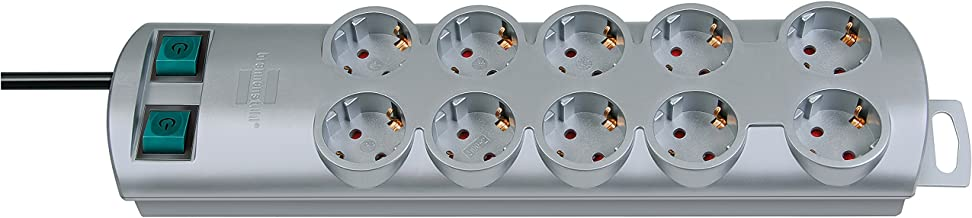 Brennenstuhl Primera-Line Power Strip 10-Way (Connector Strip with 2 Switches for 5 Sockets and 2 m Cable) Silver