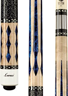 Lucasi Custom Super Birds-Eye Pool Cue with Blue Luster Inlays