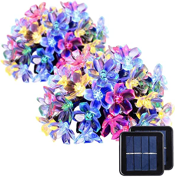 2 Pack Solar Strings Lights GIGALUMI 23 Feet 50 LED Flower Solar Fairy Lights Garden Lights For Outdoor Home Lawn Wedding Patio Party And Holiday Decorations Multi Color