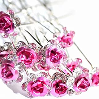 Various Beautiful Designs of Pearl/Crystals and Rhinestone Flower Hair Pins for Brides/Bridesmaids/Prom/Sweet Sixteen/Quinceanera/Weddings - Set of 20 (Pink Roses)