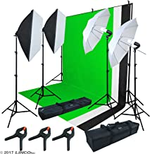 LINCO Lincostore 2.9M x 3M/ 9.5ft x 10ft Background Support System kit and 800W 5500K Umbrellas Softbox Continuous Lighting Kit for Photo Studio Product,Portrait and Video Shoot Photography AM215