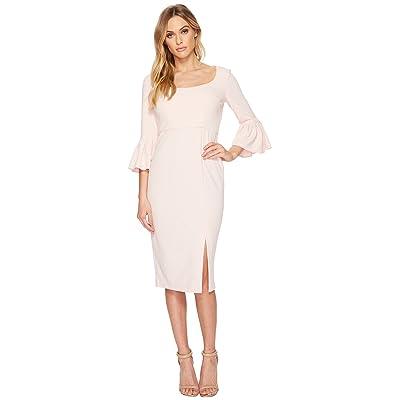 Donna Morgan 3/4 Length Bell Sleeve Scoop Neck Crepe Sheath w/ Midi Length Skirt and Side Slit (Blush) Women