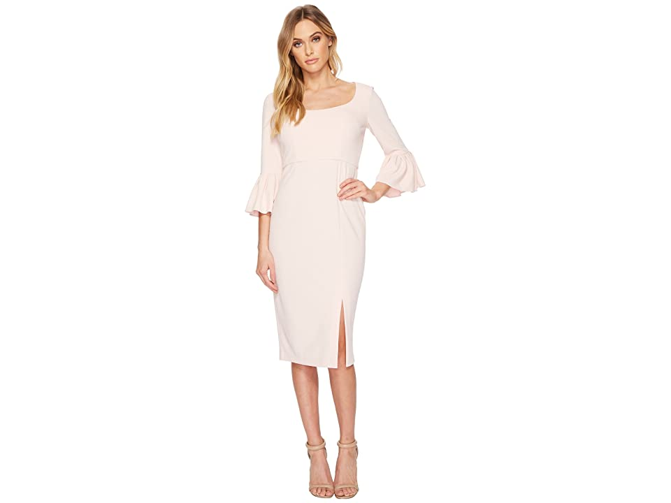 Donna Morgan 3/4 Length Bell Sleeve Scoop Neck Crepe Sheath w/ Midi Length Skirt and Side Slit (Blush) Women