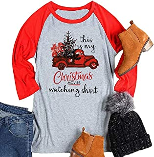 This is My Christmas Movies Watching Shirt Women Raglan Baseball Tee Funny Graphic 3/4 Sleeve Casual Tops