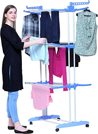 PARASNATH Stainless Steel 2 Poll 3 Layer Cloth Drying Stand(Multicolour)