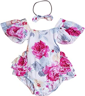 Aliven Baby Girls' Floral Painting Bodysuit Romper + Headband Jumpsuit Sunsuit s