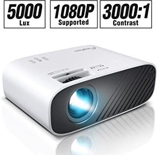 """ELEPHAS 2020 Mini Movie Projector, 5000 LUX Full HD 1080P Video Projector, with 50, 000 Hours LED Lamp Life and 200"""" Display, Compatible with USB/HDMI/VGA/Laptop/iPhone/TV Stick/TF Card"""
