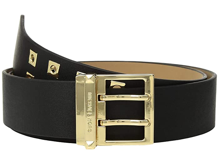 MICHAEL Michael Kors 42 mm (1 3/4) Square Grommet Belt (Black/Gold Smooth) Women