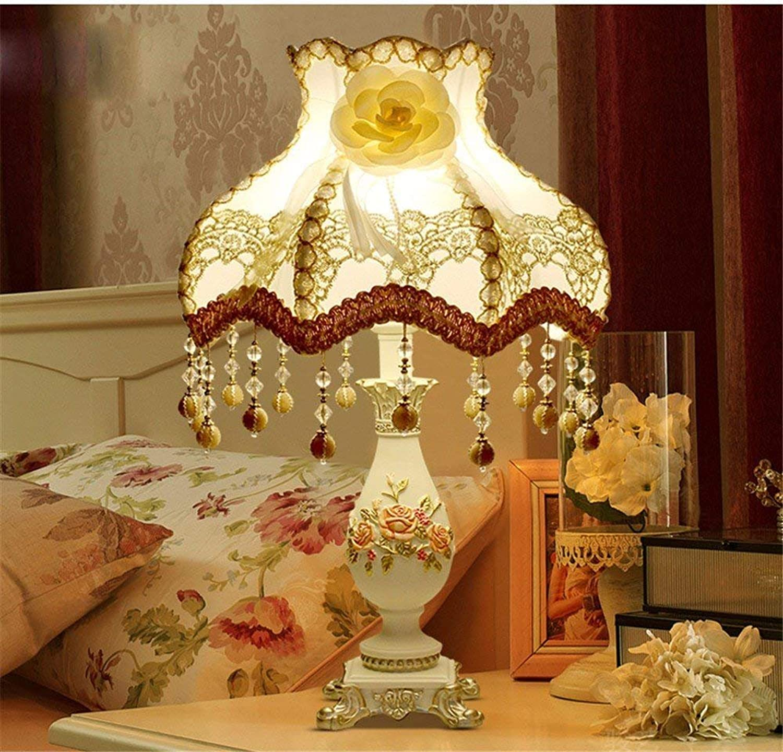 CEJ Tischlampe-Europische Tischlampe Schlafzimmer Nachttischlampe Luxus dekorative Tischlampen,Dimmerschalter