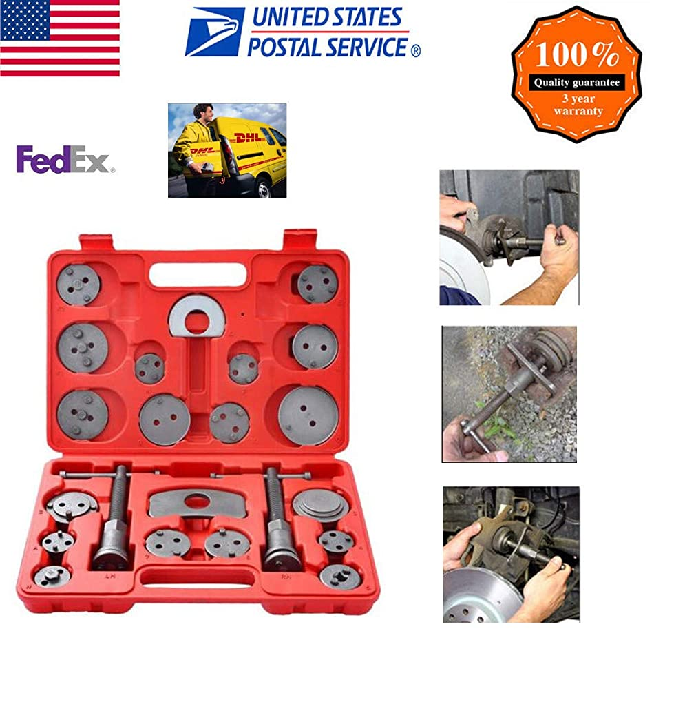Heavy Duty Disc Brake Caliper Tool Set, 22pc Professional Wind Back Kit for Brake Pad ith Wide Compatibility (Red or Blue, 22pcs Brake Caliper Wind Back Tool)