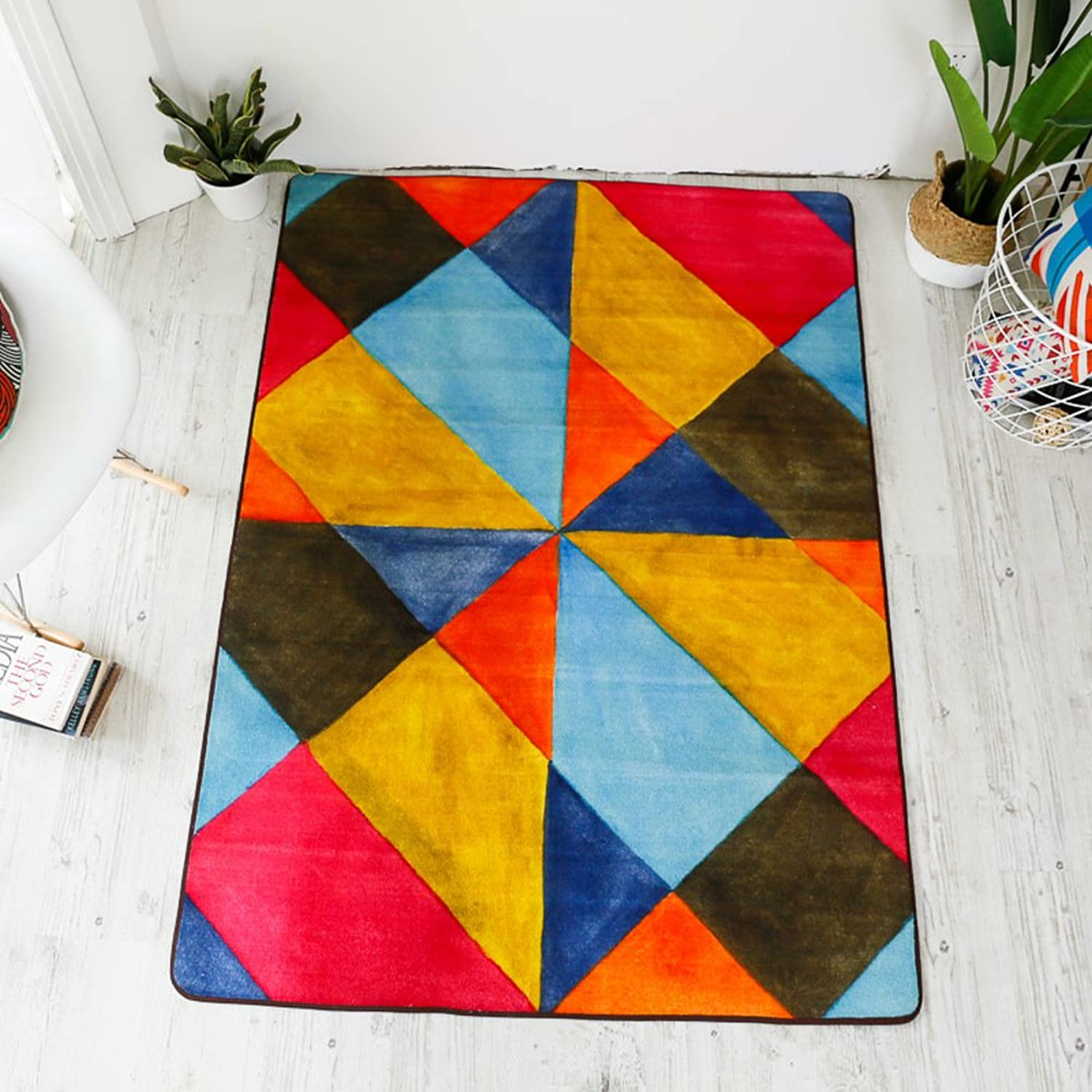 Europe and The Carpet [Geometry],[Splice],color Bump Carpet Living Room,[Study],Bedroom,Bedside Blanket Stair mat-A 120x170cm(47x67inch)