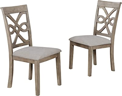 Sunset Trading French Twist Dining Chair, Upholstered Padded Seat, Distressed Grey