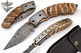 Custom Damascus Steel Pocket Knife w/ Ram Handle GladiatorsGuild