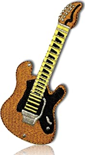 """Unique & Custom {1.5"""" x 4"""" Inch} 1 of [Glue-On, Iron-On & Sew-On] Embroidered Applique Patch Made of Natural Cotton w/Rock Classy Electric Guitar Musical Instrument {Brown, Gold, Black} + Certificate"""