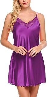 Ekouaer Sexy Lingerie Chemise Sleepwear Lace Nightgown Mini Teddy Women S-XXL