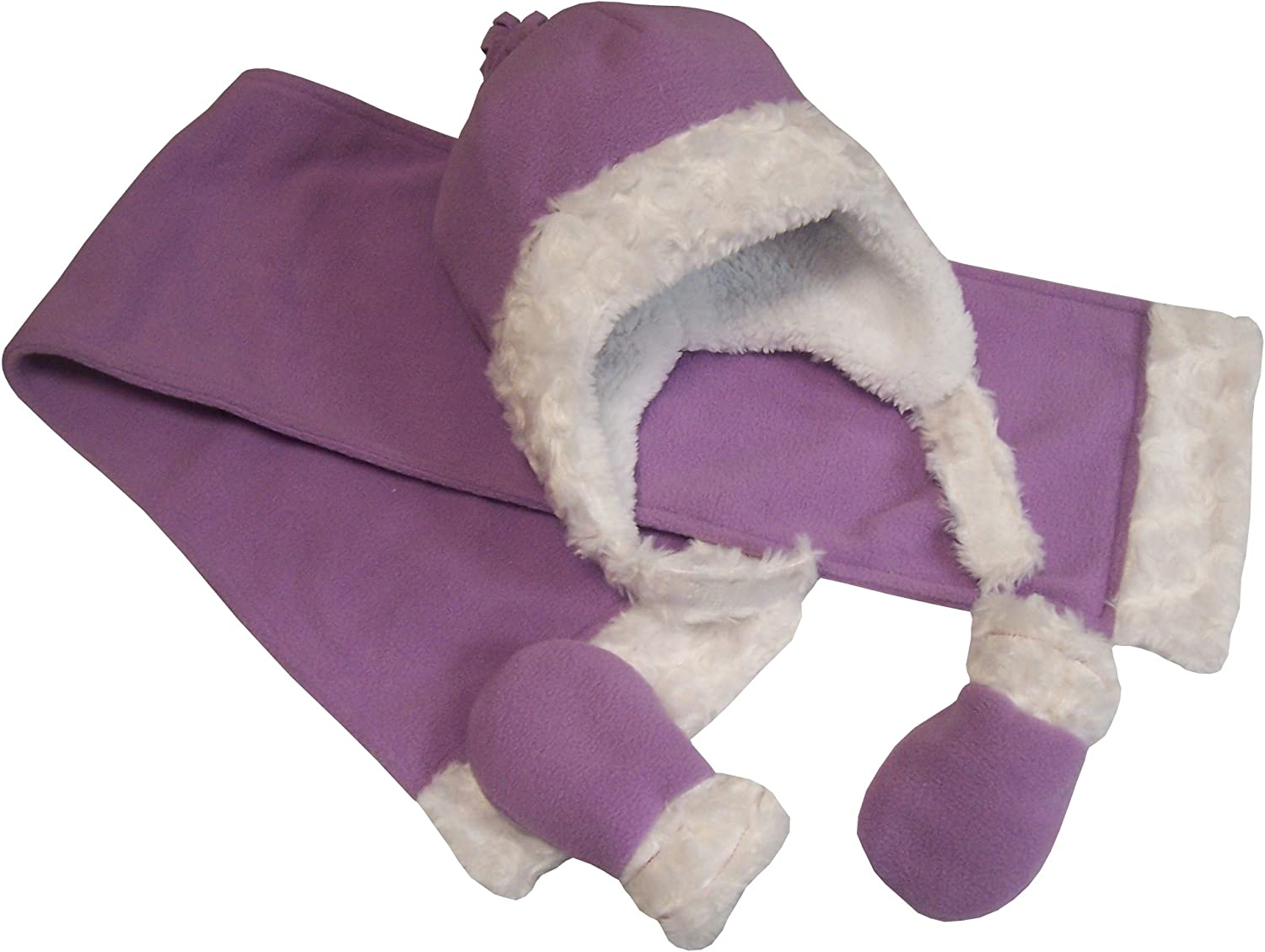 NIce Caps Little Girls and Baby Sherpa Lined Micro Fleece Velboa 3PC Set