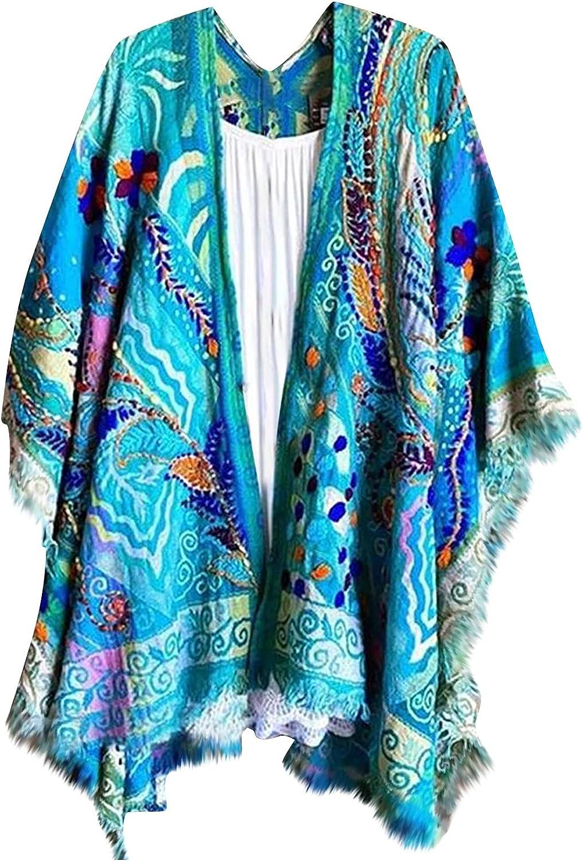 Women's Casual Irregular Hem Floral Printed Half Sleeve Cardigan Shawl OPen Stitch Coat Tops Raincoat