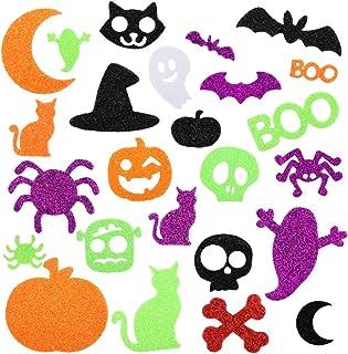 Halloween Foam Stickers Glitter Foam Stickers Halloween Self-Adhesive Craft Stickers with Pumpkin Ghost Design Halloween P...