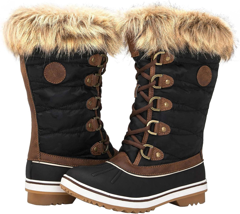 GLOBALWIN Women's 1837 Winter Snow Boots (11 (M) US Women's, 1837Brown)