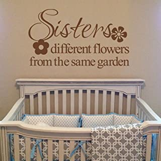 MairGwall Sisters Quotes - Different flowers from the same garden - Vinyl Wall Decal Wall Lettering (Black, Small)