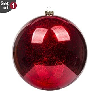 KI Store Large Christmas Ball Ornament 8 Inch Red Oversized Mercury Ball Plastic Decorative Hanging Decoration for Xmas Party