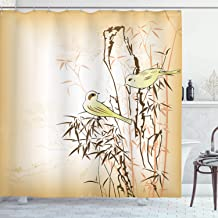 Ambesonne Bamboo House Decor Collection, Bamboo Leaf and Birds on the Branch Pine Grass Family Artistic Illustration, Polyester Fabric Bathroom Shower Curtain Set with Hooks, Yellow Brown Cream