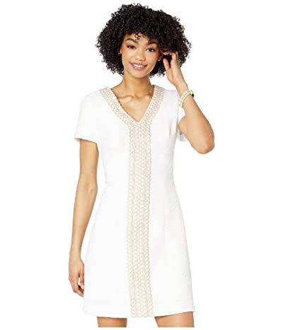 Lilly Pulitzer Arie Stretch Shift Dress (Resort White Palm Paradise Pucker Jacquard) Women