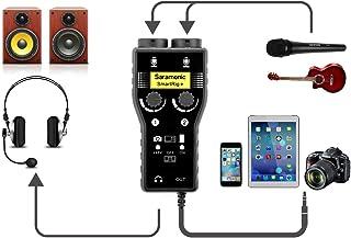 خلاط صوت كاريوكي ذكي من سارامونيك بتقنية SmartRig+ قناتين XLR/3.5 مم مع واجهة أمامية وجيتار لكاميرا دي اس ال ار اي فون X 8...