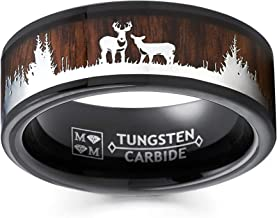 Metal Masters Co. Men's Black Tungsten Hunting Ring Wedding Band Wood Inlay Deer Stag Silhouette