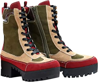 Powerful-06s Women Military Combat Lace Up Lug Sole Ankle High Boots Multi Color