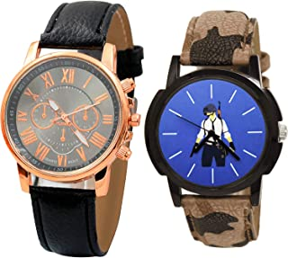 NIKOLA PUBG Military Army Analogue Black and Blue Color Dial Boys Watch - B192-B181 (Pack of 2)