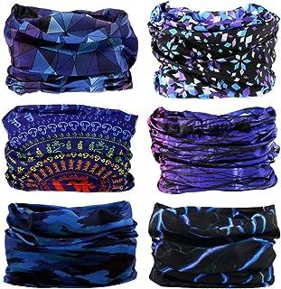 Headband Headwear Head Wrap Bandana Sport - 6PCS Magic Seamless Scarf Wide Hairbands Elastic Tube Face Mask Neck Gaiter UV Resistence Outdoor Workout (6pcs Blue Series)