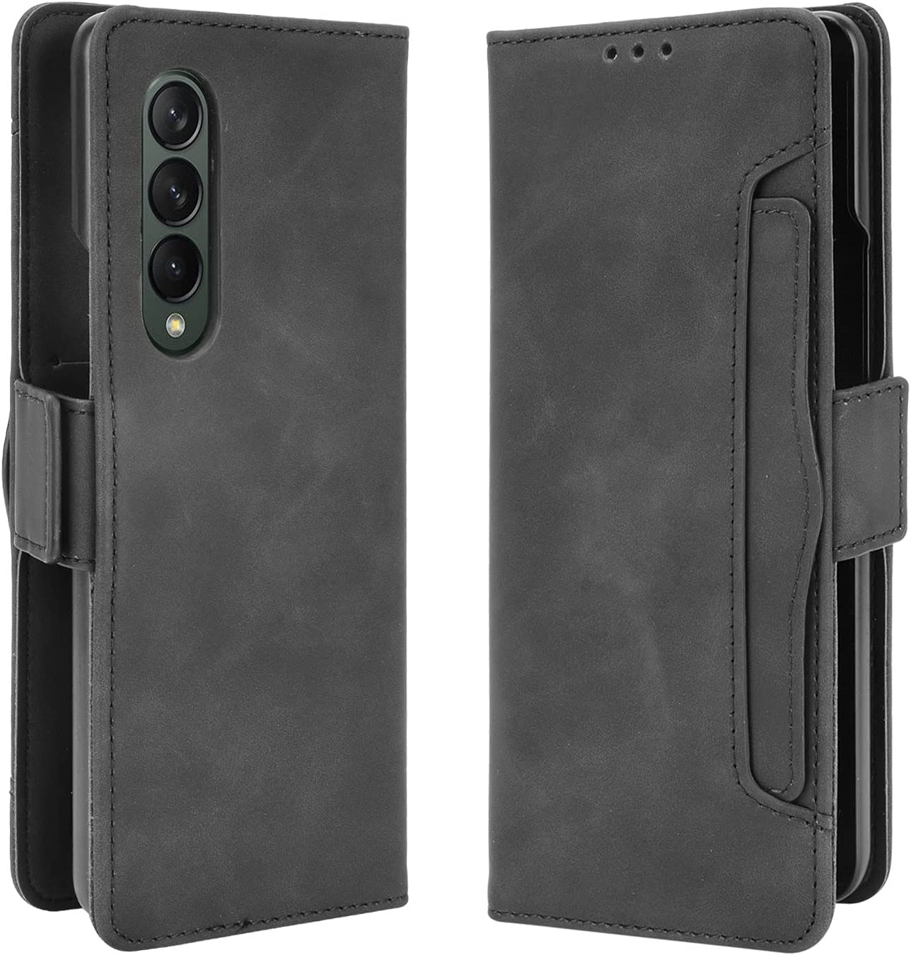 DAMONDY for Samsung Z Fold 3 Case, Galaxy Z Fold 3 5G Wallet Case, Leather Magnetic Cover Kickstand Card Slot with TPU Cover Compatible with Samsung Galaxy Z Fold 3 5G -Black