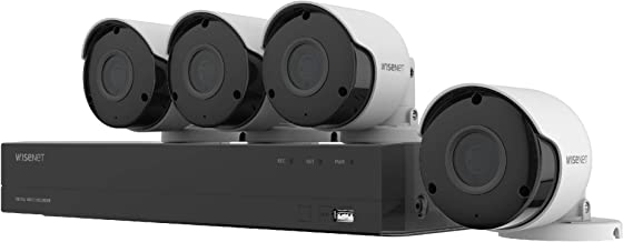 Wisenet SDH-B84045BF 8 Channel Super HD DVR Video Security System with 1TB Hard Drive and 4 5MP Weather Resistant Bullet Cameras (SDC-89445BF)